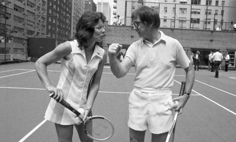 Billie Jean King and Bobby Riggs in the runup to their 1973 match.