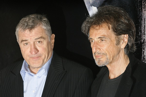 Actors De Niro and Pacino pose while promoting their new film 'Righteous Kill' in Rome